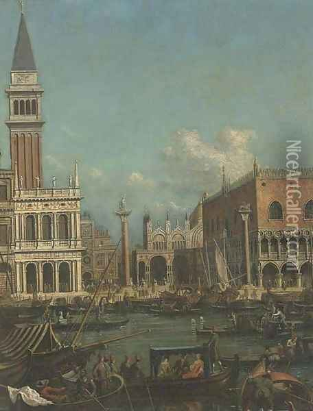The Molo, Venice, with the Doge's Palace and the Piazzetta from the Bacino di San Marco Oil Painting - (Giovanni Antonio Canal) Canaletto