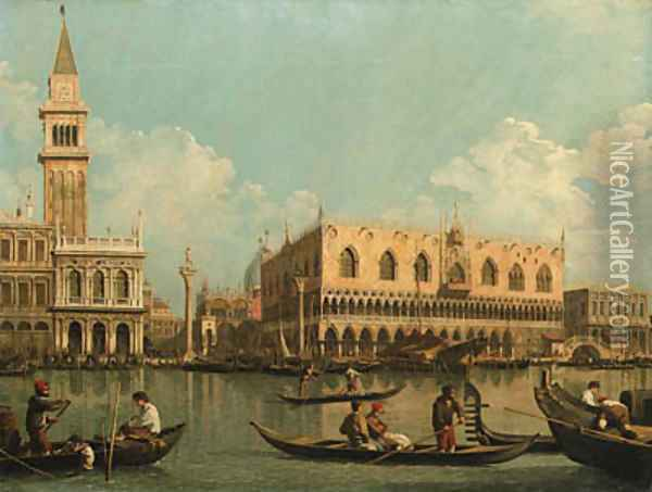 The Molo, Venice with the Doge's Palace and the Piazzetta from the Bacino di San Marco Oil Painting - (Giovanni Antonio Canal) Canaletto