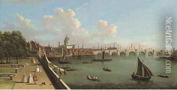 View across the Thames from Somerset House, with Blackfriars Bridge and St Paul's Cathedral Oil Painting - (Giovanni Antonio Canal) Canaletto