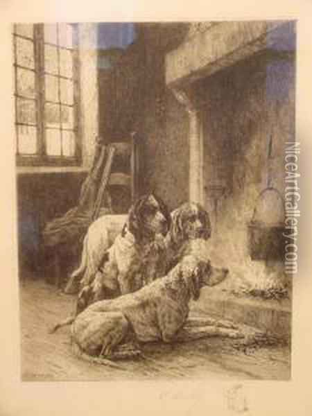 Hounds Before The Fire Oil Painting - Charles Louis Kratke