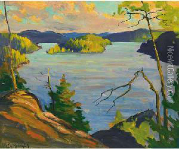 Sun Rise At The Cliff Oil Painting - George Arthur Kulmala