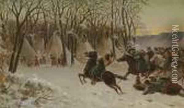 Custer Attacking An Indian Village Oil Painting - William de la Montagne Cary