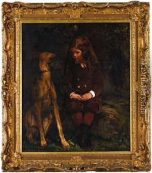 A Boy And His Dog (dickey Hunt) Oil Painting - John La Farge