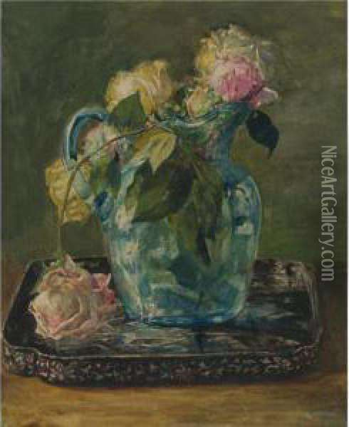 Roses In A Blue Crackle Glass Pitcher Oil Painting - John La Farge
