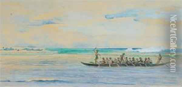 Canoe Going From Up The Coast To Apia To A Big Talolo Oil Painting - John La Farge