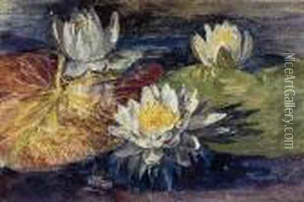 Water-lilies With Red And Green Pads Oil Painting - John La Farge