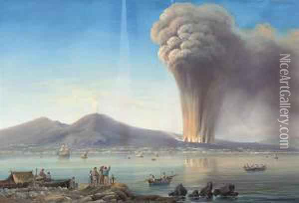 An Eruption On The Bay Of Naples Oil Painting - Gioacchino La Pira