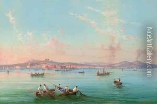 Hauling In The Nets In The Bay Of Naples, Vesuvius Beyond Oil Painting - Gioacchino La Pira