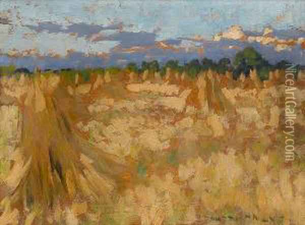 A Cornfield Oil Painting - Henry Herbert La Thangue