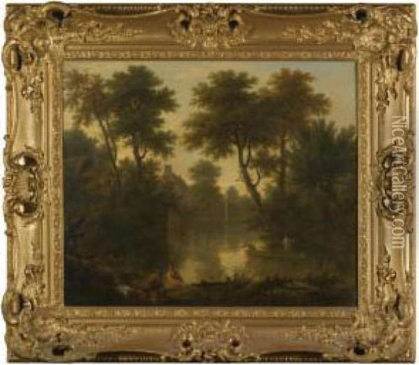 Village Pond With Two Men In A Punt Oil Painting - George Lambert