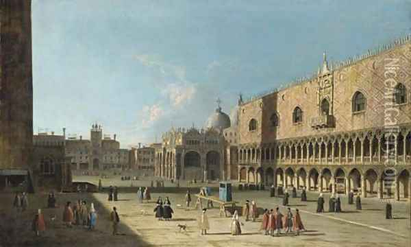 Venice, the Piazza San Marco from the Piazzetta Oil Painting - (Giovanni Antonio Canal) Canaletto