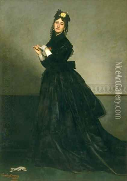 The Woman with the Glove Oil Painting - Charles Emile Auguste Carolus-Duran
