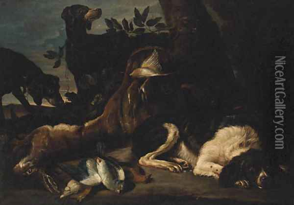 A Hunt Still Life with Hounds and a Spaniel guarding dead Game Oil Painting - David de Coninck