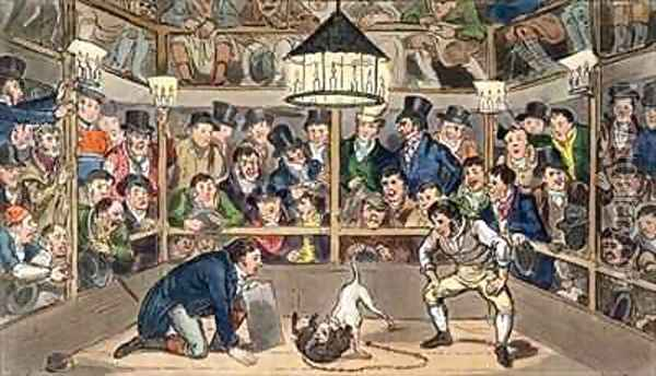 Tom and Jerry sporting their blunt on the phenomenon Monkey Jacco Macacco at the Westminster Pit Oil Painting - I. Robert and George Cruikshank