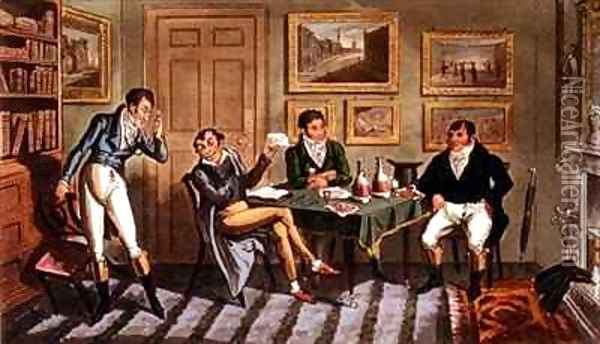 Tom and Jerry taking the hint at Logics being blown up at Point Nonplus Oil Painting - I. Robert and George Cruikshank