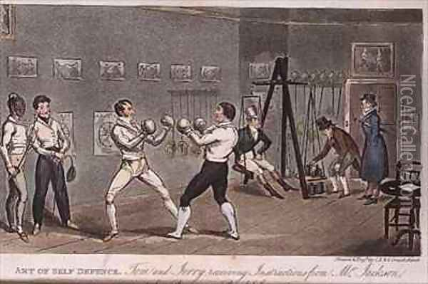 Art of Self Defence Tom and Jerry receiving instructions from Mr Jackson Oil Painting - I. Robert and George Cruikshank