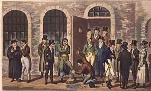 Tom Jerry and Logic visiting condemned prisoners at Newgate Prison Oil Painting - I. Robert and George Cruikshank