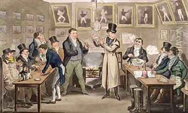 Cribbs Parlour Tom introducing Jerry and Logic to the Champion of England Oil Painting - I. Robert and George Cruikshank