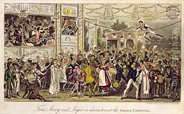 Tom Jerry and Logic in Characters at the Grand Carnival Oil Painting - I. Robert and George Cruikshank