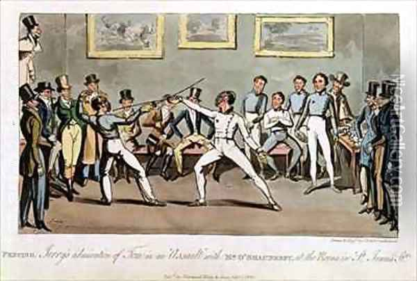 Fencing Jerrys admiration of Tom in an Assault with Mr OShaunessy at the rooms in St Jamess Street Oil Painting - I. Robert and George Cruikshank