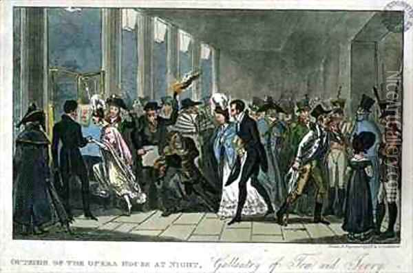 Outside of the Opera House at Night Gallantry of Tom and Jerry Oil Painting - I. Robert and George Cruikshank