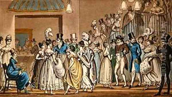 In the foyer at Covent Garden Theatre Oil Painting - I. Robert and George Cruikshank