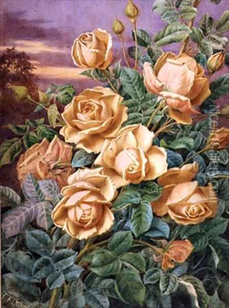 Yellow Roses Oil Painting - Thomas Frederick Collier