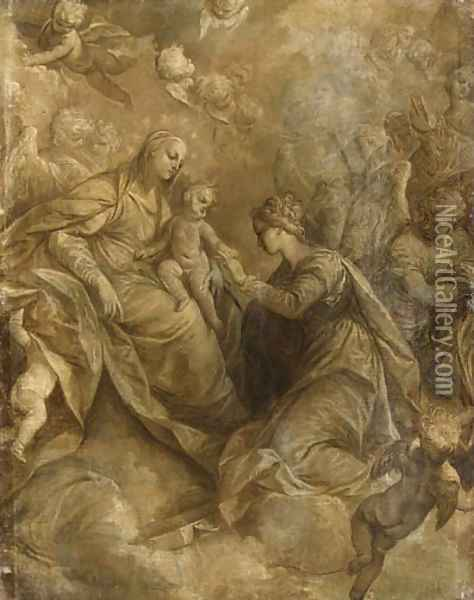 The Mystic Marriage of Saint Catherine of Alexandria, with angels and cherubim, en grisaille Oil Painting - Donato Creti