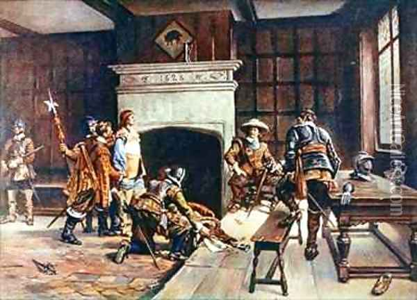 Oliver Cromwell 1599-1658 at the Blue Boar in Holborn Oil Painting - Ernest Crofts