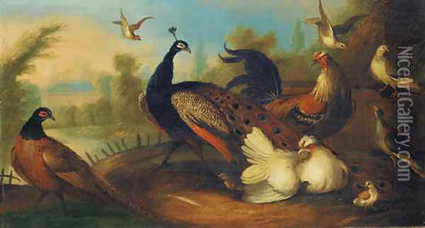 A peacock and other birds in an ornamental garden Oil Painting - Marmaduke Cradock