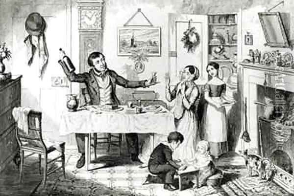 The Bottle Plate I The bottle is produced for the first time the husband induces his wife Just to take a drop Oil Painting - George Cruikshank