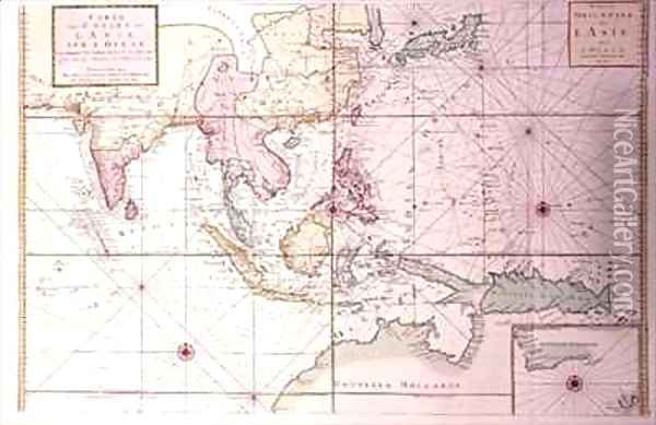 Coastal chart extending from northwestern India to northern Australia by way of Japan and the Philippines Oil Painting - Johannes and Mortier, Cornelis Covens