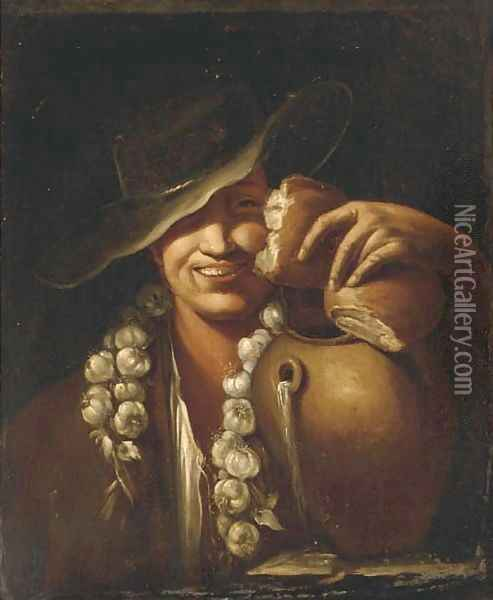 A boy with cloves of garlic, bread and a jug of water Oil Painting - Giacomo Francesco Cipper