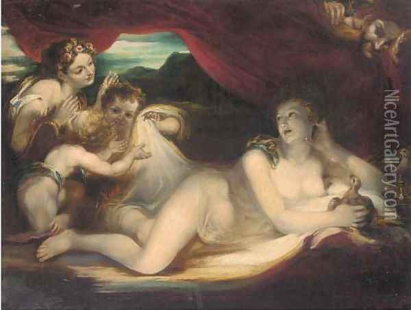 Venus reclining on a couch with cherubs and a nymph, a satyr looking on Oil Painting - Valerio Castello