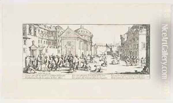 War Invalids Outside a Hospital Oil Painting - Jacques Callot