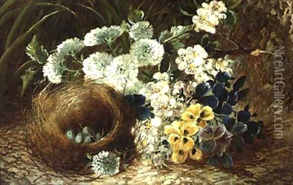 A Still Life of Flowers and a Birds Nest on a Mossy Bank Oil Painting - Vincent Clare