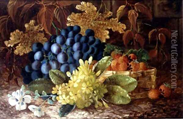 A still life of grapes and a basket of strawberries on a mossy bank Oil Painting - Vincent Clare
