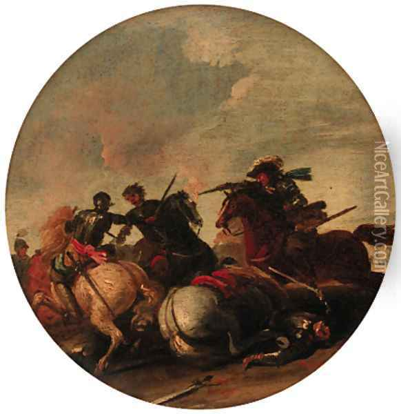Cavalry engagements Oil Painting - Jacques Courtois