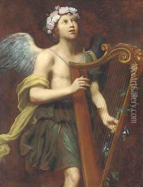 An angel playing the harp Oil Painting - Guido Cagnacci