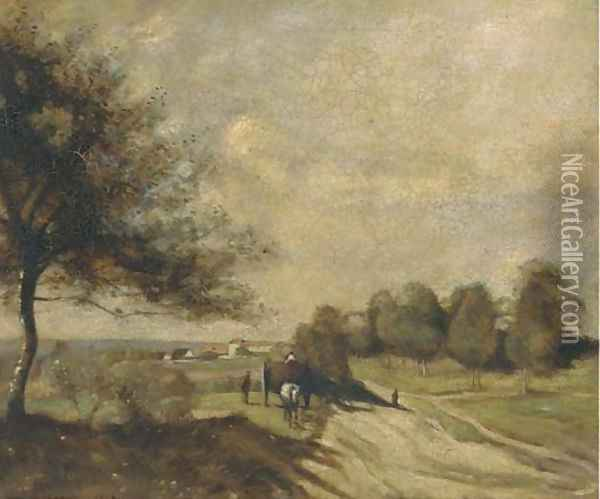 A horse and cart on a country road Oil Painting - Jean-Baptiste-Camille Corot
