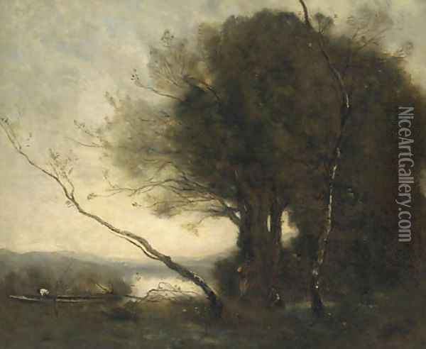 Figures working in a landscape, a lake beyond Oil Painting - Jean-Baptiste-Camille Corot