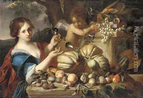 Melons, grapes, plums, peaches, pears, figs and pomegranates on a ledge, with a lady in a blue dress and a putto Oil Painting - Michele Pace Del (Michelangelo di) Campidoglio