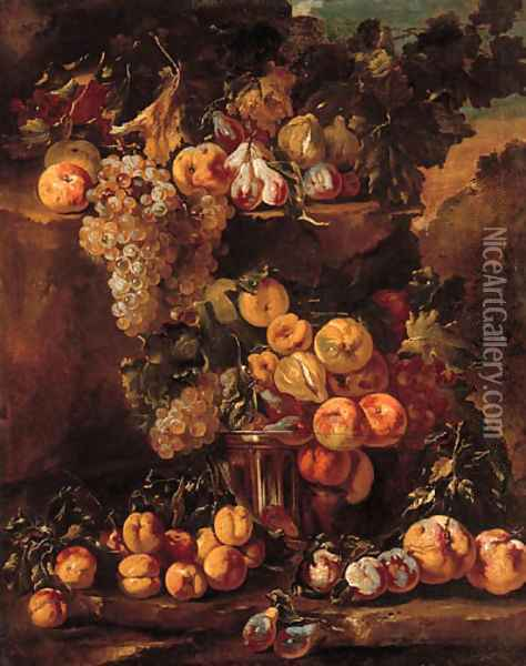 Grapes, apples, plums and figs in a glass bowl with other fruit on a ledge in a landscape Oil Painting - Michele Pace Del (Michelangelo di) Campidoglio