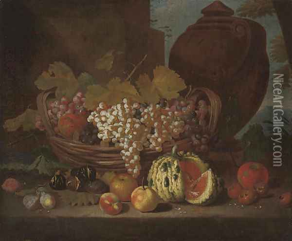 Red and white grapes on the vine in a basket Oil Painting - Michele Pace Del (Michelangelo di) Campidoglio
