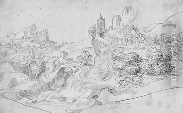 A mountainous landscape with a castle on an outcrop Oil Painting - Domenico Campagnola