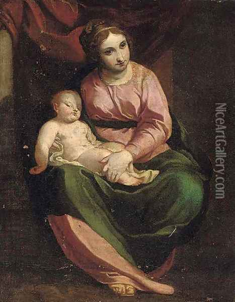 The Madonna and Child Oil Painting - Luca Cambiaso