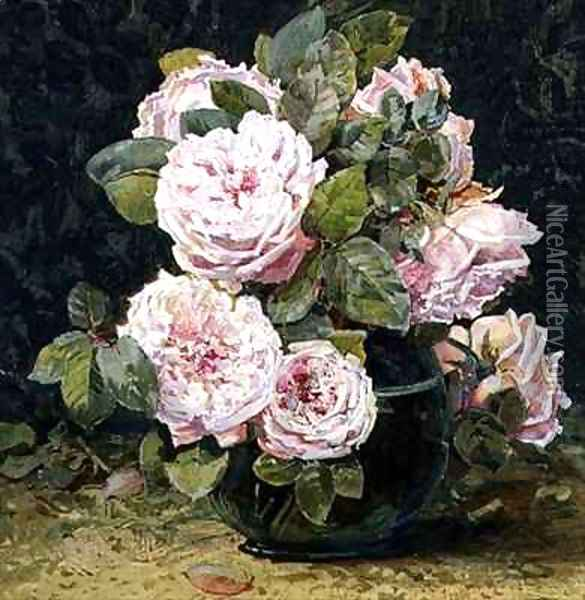 Roses in a Green Bowl Oil Painting - Fanny W. Currey