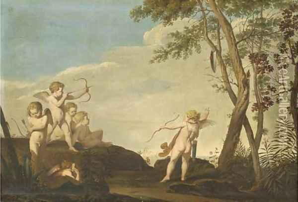 A Mediterranean landscape with putti firing arrows to a shield Oil Painting - Giovanni Battista Cipriani