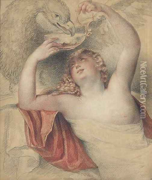 Jupiter and Hebe Oil Painting - Giovanni Battista Cipriani