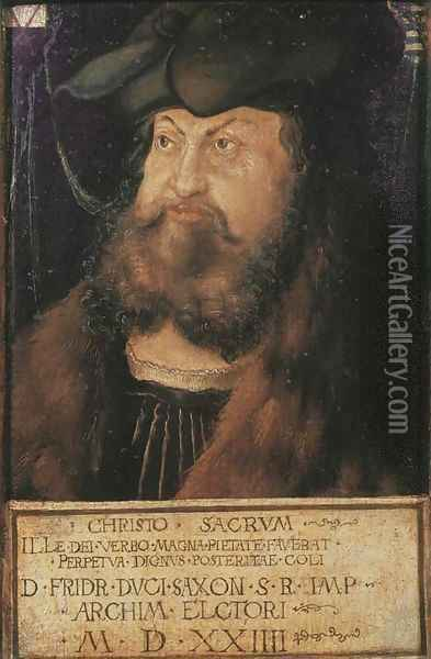 Portrait of Frederick the Wise, Elector of Saxony Oil Painting - Lucas The Elder Cranach